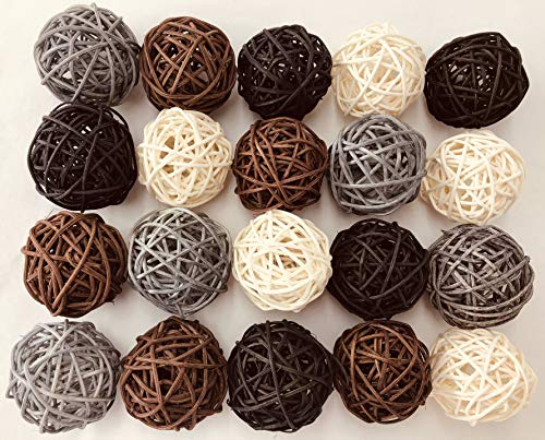 20-Pack Wicker Rattan Balls - Decorative Orbs Natural Spheres Craft DIY, Wedding Decoration, Christmas Tree, House Ornaments Vase Filler - 4 Colors Assorted, 45 mm,White, black, silver and brown color (Large Balls Wicker)