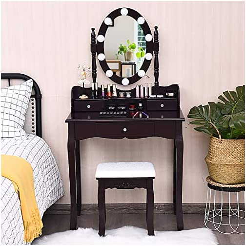 CHARMAID Vanity Set with Lighted Oval Mirror, Makeup Dressing Table with 10 LED Dimmable Bulbs and 3 Drawers, Modern…