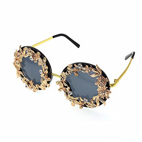 à De lunettes de métal fleur UV Lunettes baroque lunettes or Soleil Classique luxe pour soleil polarisées Vintage les Miroir rétro la protection et feuille main couleur femmes Femmes en de De conduite fAOq7Y88