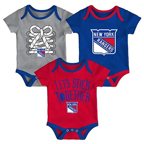 Outerstuff New York Rangers NHL Five on Three Infant 3 Pack Bodysuit Creeper  Set 6f48875c5