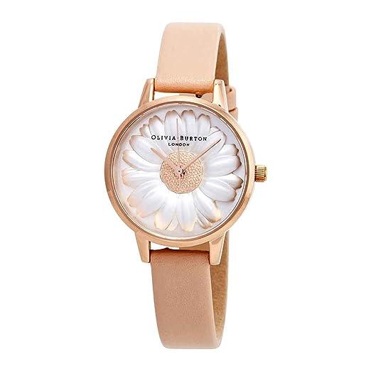 Olivia Burton Reloj Analógico para Mujer de Cuarzo con Correa en Cuero OB16FS87: Amazon.es: Relojes