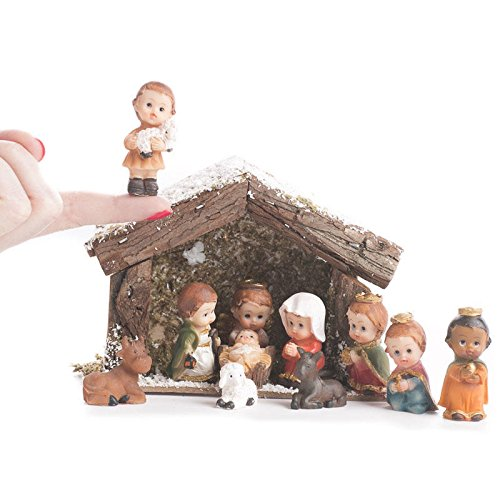 Factory Direct Craft Miniature Whimsical Nativity and Stable Set For Christmas Holiday Home Decor - Great Christmas Gift