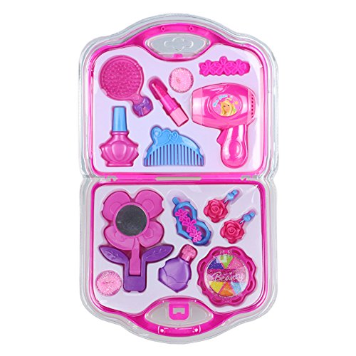 Fajiabao New Portable Kids Pretend Role Play Makeup Toy Set with Hairdryer Mirror and Styling Accessories for Little Girl Kids Pink Christmas Birthday (Girls Halloween Ideas)