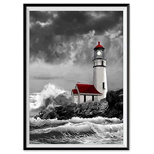 5D Diamond Painting Rhinestone Wave Lighthouse Cabin Embroidery Wallpaper DIY Wall Sticker by Number Kits Full Drill Kits Full Drill Cross Stitch Arts 30X40CM