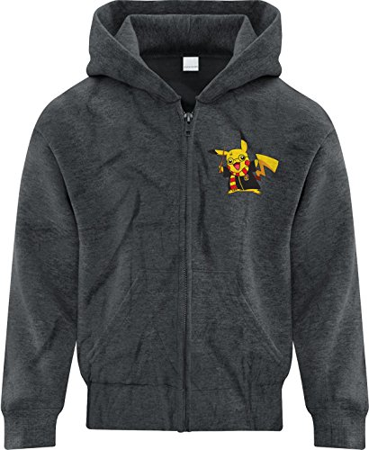 BSW Youth Boys Pikachu Potter Pokemon Harry Potter Zip Hoodie Med Dark Heather