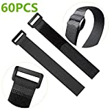 60PCS 8-inch Reusable Fastening Cable Strap, Nylon Tie With Hook and Loop Adjustable Fastening Cable Strap Fastening Wraps Hook and Loop Black
