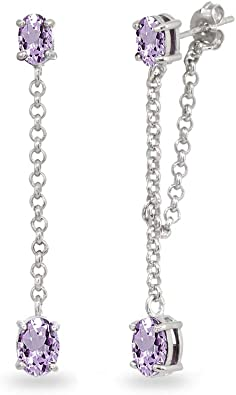 Sterling Silver Drop Earrings set with Amethyst Stones.