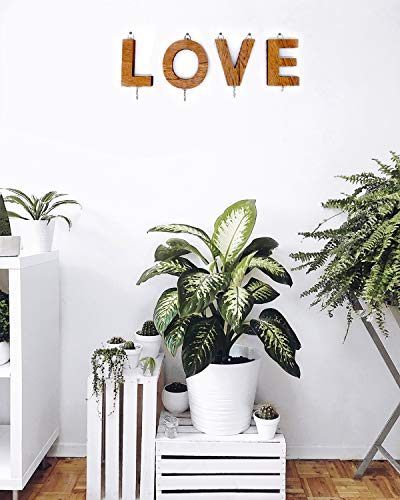 Vah Wall Hanging Key Hooks Rails Letter Pattern Love  Brown