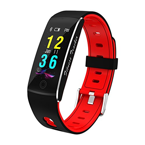 CARYAN F10 Sport Fitness Tracker, Fitness Tracker Watch With heart rate monitoring, Bluetooth Smart Wristband Bracelet Sport Pedometer Step Counter IP67 Waterproof (Red) by CARYAN