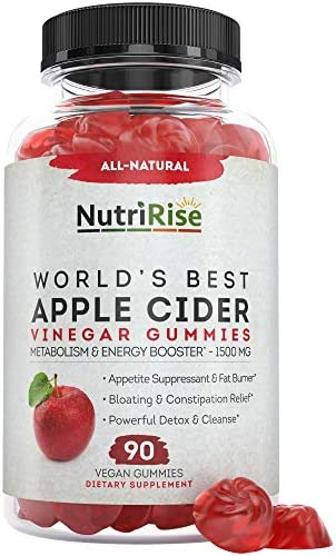 Pure Apple Cider Vinegar Gummy Vitamins with Mother – Vegan, Gluten-Free, Raw & Unfiltered. Extra Strength 1500mg for Detox and Cleanse – 90 ACV Gummies for Weight Loss, Fat Burner & Energy