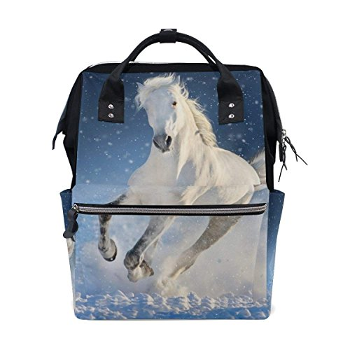 White Horse Run Gallop In Winter Snow Field Diaper Bags Mummy Backpack by HangWang