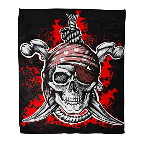 Emvency Throw Blanket Warm Cozy Print Flannel Jolly Roger Pirate Symbol Crossed Daggers and Rope Black Red Comfortable Soft for Bed Sofa and Couch 60x80 Inches