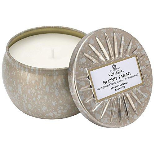 Voluspa Vermeil Blond Tabac Petite Decorative Tin Candle, 4.5 Ounce