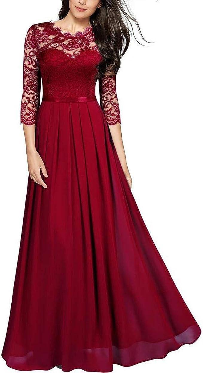 OUDIYA Abendkleid Damen Lang Spitzenkleid Elegant Halbarm Rundhals Kleider  Vintage Brautkleid Hochzeit Faltenrock Langes Sommerkleid