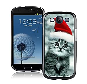 taoyix diy Personalization Christmas Red Hat Cute Cat Black TPU Phone Case For Samsung Galaxy S3,Samsung I9300 Cases
