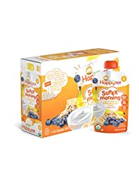 Happy Tot Organic Stage 4 Super Morning, Organic Bananas, Blueberries, Yogurt & Oats + Super Chia, 4 Ounce (Pack of 8) BOBEBE Online Baby Store From New York to Miami and Los Angeles