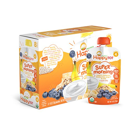Price comparison product image Happy Tot Organic Stage 4 Super Morning, Organic Bananas, Blueberries, Yogurt & Oats + Super Chia, 4 Ounce (Pack of 8)