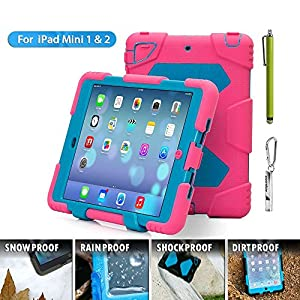 ACEGUARDER iPad Mini 2 Case for Kids Slim Military Heavy Duty Full Body Protective Impact Resistant Shockproof Waterproof Hard Smart Cover with Back Kickstand for Apple iPad Mini 1 2 3 [Pink-Blue]