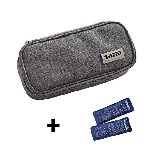 Portable Insulin Cooler Bag Diabetic Care Organizer Travel Medical Pack + 2 Ice Gel Packs (Grey)
