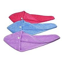 HOPESHINE Women's Soft Shower Hair Towel Twist Hair Turban Wrap Drying Cap Great Gift for Christmas (Blue+Purple+Rose Red 3-Pack)