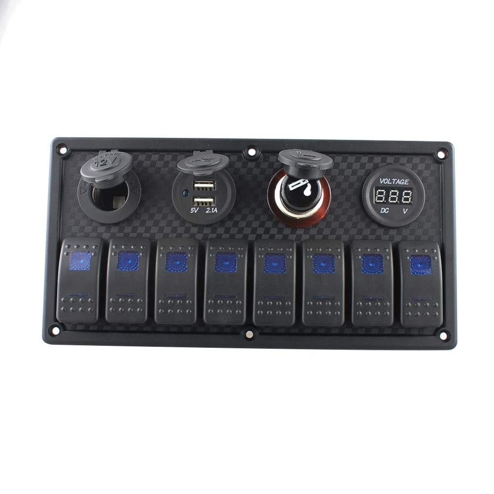 Tickas 8 Gang Rocker Switch Panel LED Voltmeter Dual USB Charger Adapter Cigarette Lighter Socket Cigarette Lighter for Marine Boat Car Truck by Tickas