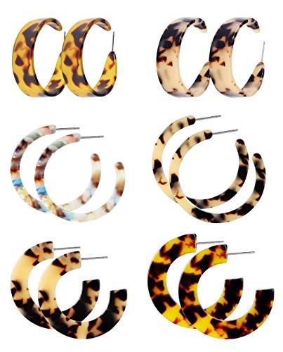 Finrezio 6 Pairs Mottled Acrylic Dangle Drop Earrings for Women Stud Earrings Set Bohemian Statement Earrings Resin Fashion Jewelry