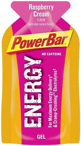 PowerBar Energy Gel, No Caffeine, Raspberry Cream, 1.44-Ounce Packets (Pack of 24)