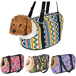 ZZmeet Classic Pet Carrier for Small Dogs Cozy Soft Puppy Cat Dog Bags Backpack Outdoor Travel Pet Sling Bag Chihuahua Pug Pet Supplies,with Fur,L 55 x 26 x 27 cm