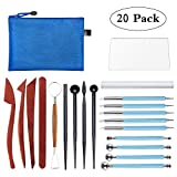 Polymer Clay Tools, Modeling Clay Sculpting Tools Kits for Pottery Sculpture, Include Wooden Dotting Tools,Rubber Tip Pens,Ball Stylus Tool,Modeling Tools Pottery Tools,Rosewood Ceramics Tool (20Pcs)
