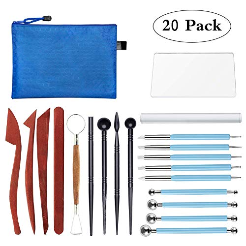 Polymer Clay Tools, Modeling Clay Sculpting Tools Kits for Pottery Sculpture, Include Wooden Dotting Tools,Rubber Tip Pens,Ball Stylus Tool,Modeling Tools Pottery Tools,Rosewood Ceramics Tool (20Pcs) (Polymer Rolling Machine)