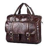 BAIGIO Vintage Leather Briefcase Work Bag 14 Inch Laptop Satchel Handbag Tote Bag (Coffee)