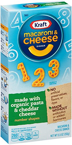 Kraft Mac & Cheese Dinner Made with Organic Pasta, Number Shapes, 5.5 Ounce