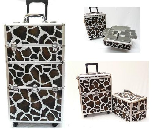 UPC 182652661898, Professional Studio Pro SALON BROWN & white Giraffe Stylist Aluminum Make-Up Case & JEWELRY TRAIN Case with Appliance Holders, 4 Wheels, Retractable Handle, Safety Locks and 2 Keys