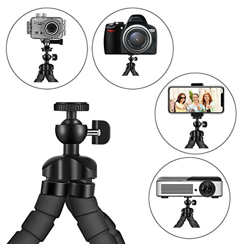 Phone Tripod, PacGo Portable and Flexible Cell Phone Tripod with Remote Shutter, Universal Phone Clip and Gopro Adapter for iPhone, Android Phone, Camera, Sports Camera GoPro UPGRADE VERSION by PacGo (Image #1)