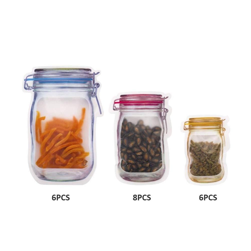 10 pezzi di sacchetti per barattoli di vetro sacchetti per alimenti sacchetti a tenuta stagna per viaggi e campeggio chiusura ermetica riutilizzabili sacchetti per snack con chiusura a sandwich