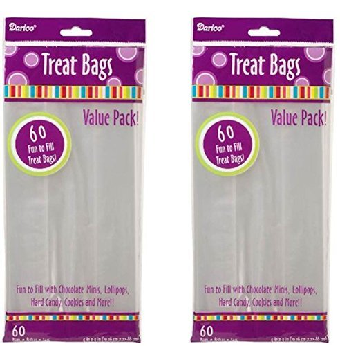 2 Packs of Darice 28-003V 4-Inch-by- 9-Inch Clear Treat Bag 60-Piece -