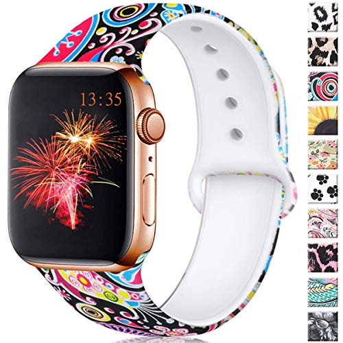 Haveda Floral Bands Compatible for Apple Watch 40mm Series 4 Series 5, Soft Pattern 38mm Apple Watch Band Women Printed Silicone Sport Wristbands for iWatch Series 3 Series 2/1, M/L Colorful Jellyfish