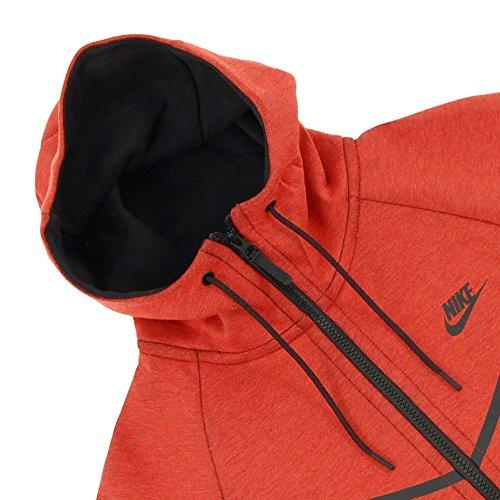 Nike Menns Sports Tech Fleece Windrunner Hettegenser Orange Lyng / Svart ...
