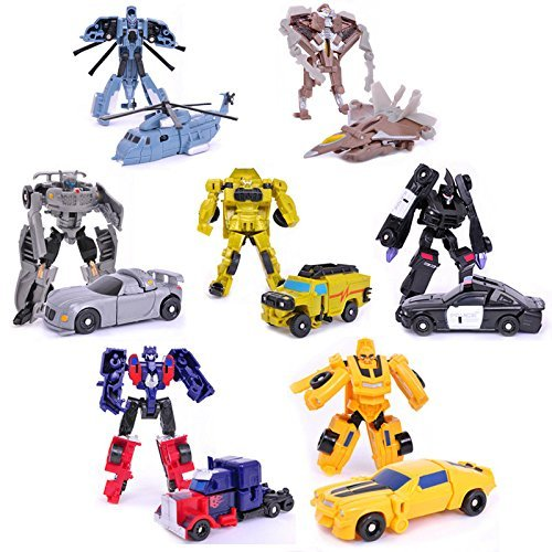 Transformation 7pcs Kids Classic Robot Cars Toys For Children Action Toy Figures