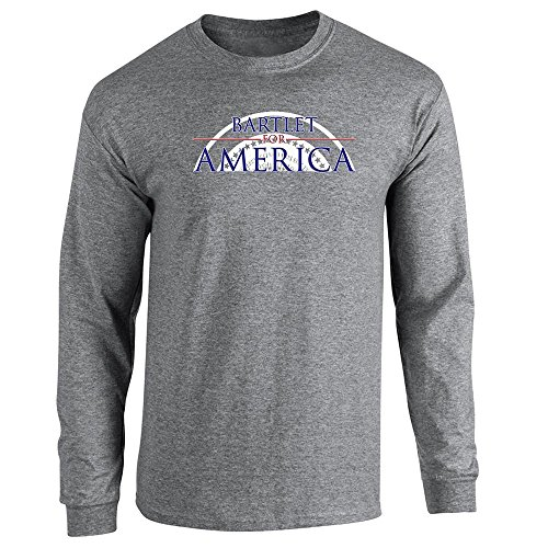 Pop Threads Jed Bartlet For America Presidential Campaign Graphite Heather XL Long Sleeve T-Shirt (West Wing T-shirt)