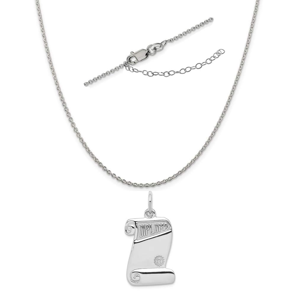 Sterling Silver Anti-Tarnish Treated Diploma Charm on an Adjustable Chain Necklace