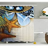 Ambesonne Hawaiian Decor Collection, Dream on the Beach Seashell Starfish Sea Star Sunglasses Flip Flop Slippers and a Hat with Exotic Palm Trees Bath Fabric Shower Curtain, Green Blue Brown Gray