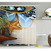 Beach Shower Curtain Hawaiian Decor by Ambesonne, Dream on the Beach Seashell Starfish Sea Star Sunglasses Flip Flop Slippers and a Hat with Exotic Palm Trees Bath Fabric Set, Green Blue Brown Gray
