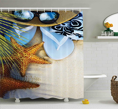 Ambesonne Beach Shower Curtain Hawaiian Decor by, Dream on the Beach Seashell Starfish Sea Star Sunglasses Flip Flop Slippers and a Hat with Exotic Palm Trees Bath Fabric Set, Green (Palm Tree Slipper)
