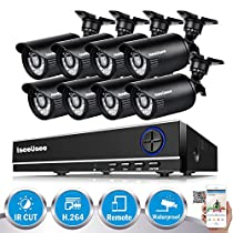 ISEEUSEE 720P Home Video Surveillance System 8 Channel 1080N DVR With 8pcs Indoor/Outdoor Night Vision Security Camera No Hard Drive