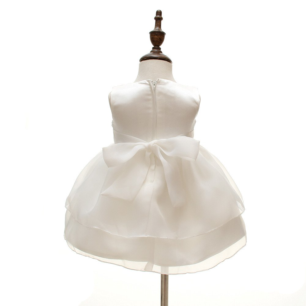 Baby Girls Dresses Christening Wedding Pageant Bow Formal Dress Ivory white (3M/0-6months) by Meiqiduo (Image #4)