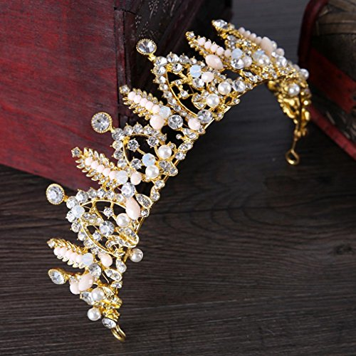 - Tgirls Gold Vintage Crowns and Tiaras Bridal Wedding Queen Crown Headband for Women and Girls