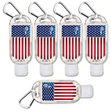 American Flag Hand Sanitizer with Clip, 5-Pack of