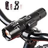 classic glow Bike light 1000 Lumen Headlight Bundle with Rechargeable Batteries, AC Charger + Charger Base and White Tube+Mount
