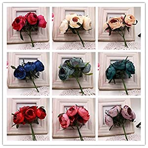 Rose tea buds Silk Big Artificial Flowers Bride Bouquet DIY Festival Home Decor Wedding Party Flores Home Hats Decoration Marriage Wreath Plants 30pcs 2